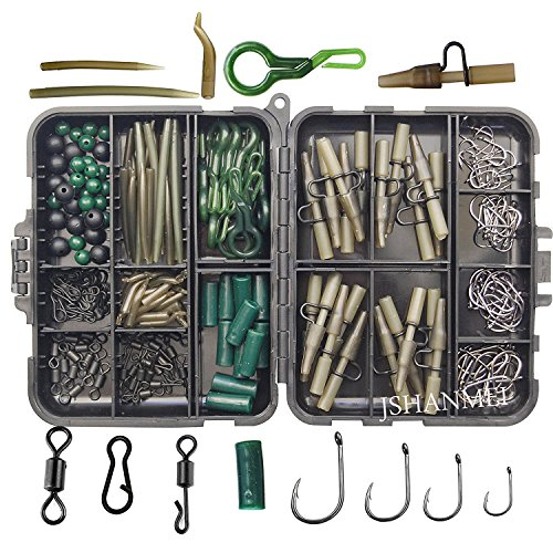 JSHANMEI Carp Fishing Tackle Kit, Include Clips Beads Hooks Tubes Swivels Baiting Terminal Rigs Carp Tackle Box 160pcs