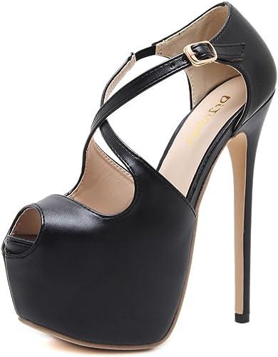MesLes dames Chaussures Peep Toe Extrême Extrême Stiletto Heels Croix Strappy Boucle Plate-Forme Mode Club Bar De Mariage Sandales  belle
