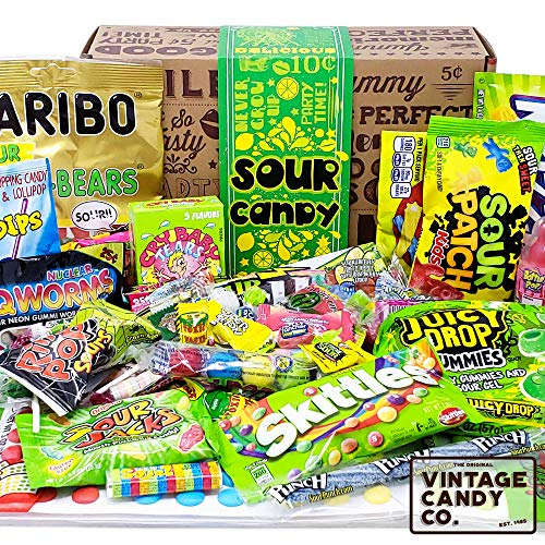 VINTAGE CANDY CO. SOUR CANDY ASSORTMENT GIFT BOX - Best Candy Variety Mix Care Package - Unique &...