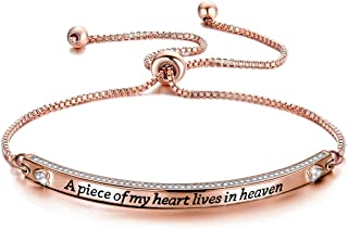CENWA Memorial Bracelet Jewelry Sympathy Gift A Piece of My Heart Lives in Heaven Zircon Bracelet Loss Jewelry Gift
