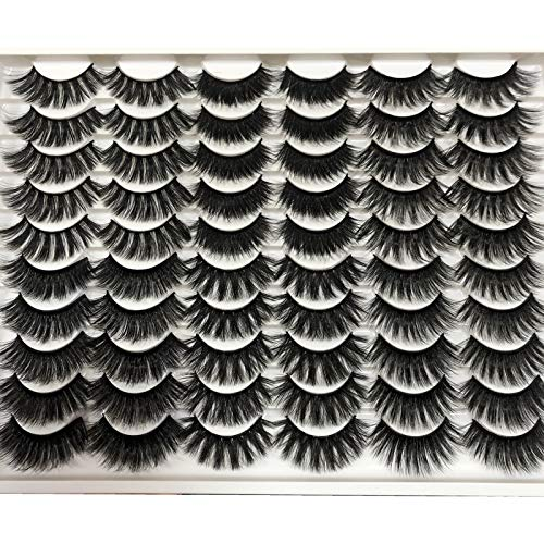 Pooplunch False Eyelashes 30 Pairs 6 Styles Natural Faux Mink Lashes Volume Fake Eye Lashes Long Thick Crossed Fluffy Volume Soft Reusable Lash Pack