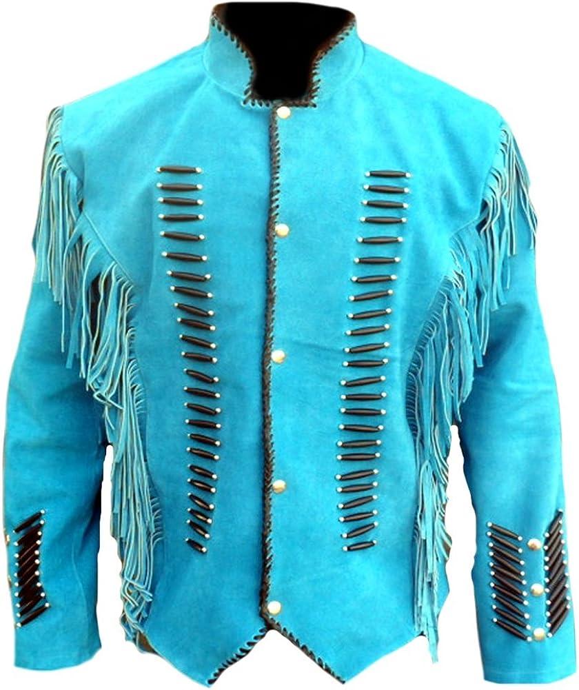 Classyak Men's Native Indian Western Suede Jacket Fringes & Bones