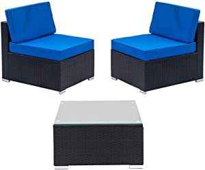 ANA Store Patio Rattan Wicker Sofa Set Cushioned Couch Furniture Outdoor Garden 3PC