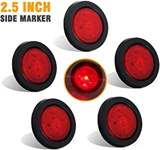 NOVALITE 5X 2.5'' Round Red Trailer LED Side Marker Lights, Sealed Grommet Flush Mount 4 LEDs Light with Reflective Lens, Truck RV Waterproof Universal 12V, DOT Certified