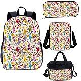 Juego de mochila escolar y bolsa de almuerzo de Pascua de 15 pulgadas, cesta con bolsas de huevos de conejitos 4 en 1