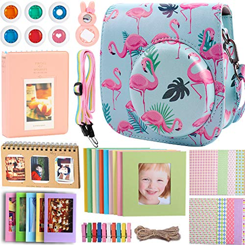 Case & Accessories Compatible with Fujifilm Instax Mini 9/8/8+ Instant Polaroid Film Camera, Bundle Pack Include Albums, Filters, Strap&Other Accessories [Flamingo,9 Items Kit] by SAIKA