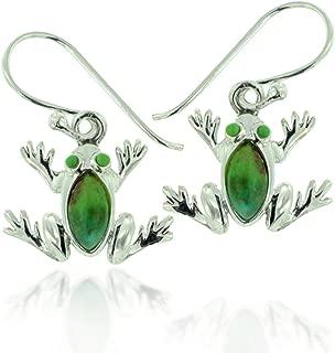 925 Oxidized Sterling Silver Green Turquoise Gemstone Frog Dangle Earrings