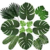 6 Kinds of Artificial Tropical Palm Leaves,12pcs/Kind,Total 72Pcs Faux Plant Leaves with Stems Safari Hawaiian Luau Party Suppliers ,Tiki Aloha Jungle Beach Birthday Table Leaves Decorations