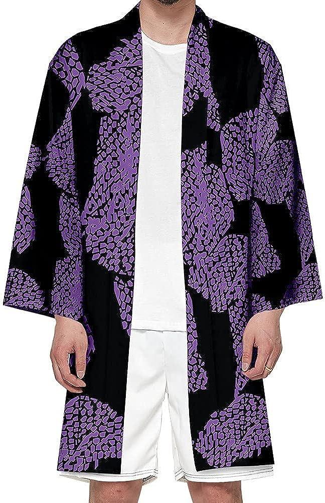 Unisex Anime Cosplay Long Kimono Japanese Traditional Long Sleeve Robe Casual Loose Open Front Coat Cardigan