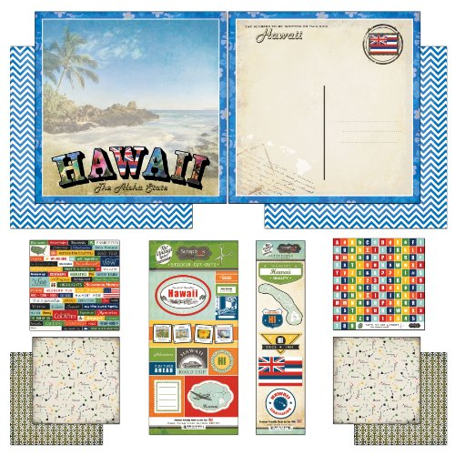Scrapbook Customs Themed Paper and Stickers Scrapbook Kit, Hawaii Vintage