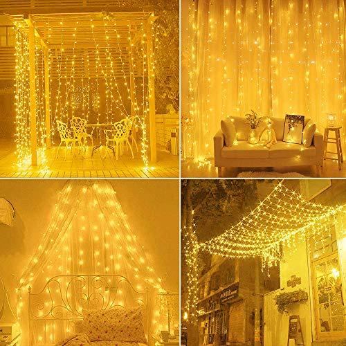Cortina de luces,Cadena de Luces 3m x 3m 300LED luces de Navidad al Aire Libre Blanco Cálido Luz, IP55 Impermeable, Poder de conexión USB para Decoración Fiesta, Bodas 10 ganchos (blanco cálido)