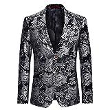 Allthemen Haut de Costume Mince Affaires Mariage décontraction-Costume Homme-Costume Moderne,Noir motifs argentes,3XL