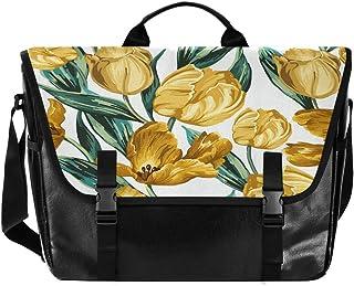 Bolso de lona para hombre y mujer, diseño de flores, color amarillo