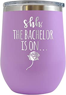 Shh The Bachelor is On - Engraved 12 oz Stemless Wine Tumbler Cup Glass Etched - Funny Birthday Gift Ideas for him her tv show the bachelor tv series (Lt. Purple - 12 oz)