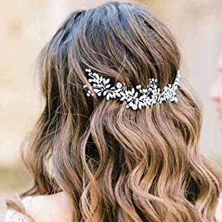 Handcess - Cerchietto per capelli da sposa con perle di cristallo, con foglie argentate, accessorio per capelli da sposa e...