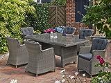 Dreams4Home Gartentisch 'Queens' Rattan vintage grau 200x100 Outdoortisch Beistelltisch