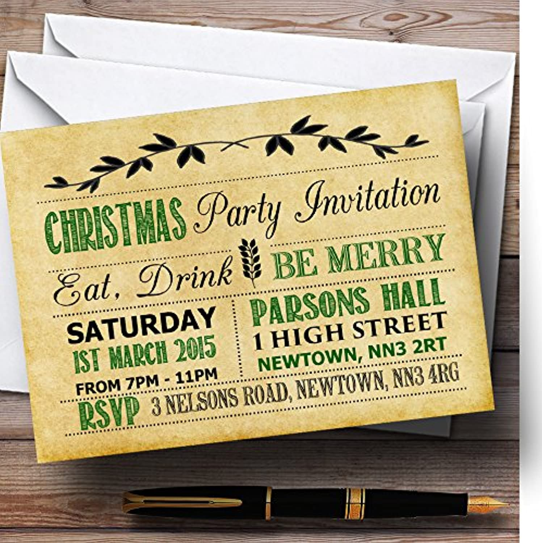 distribución global Viejo Vintage verde y negro personalizado invitaciones para para para fiesta de Navidad  Envío 100% gratuito