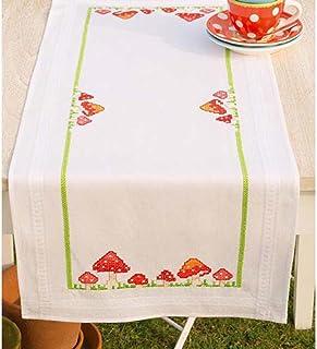 Vervaco Tischläufer Fliegenpilze Stickpackung/Läufer im vorgedruckten/vorgezeichneten Kreuzstich, Baumwolle, Mehrfarbig, 40 x 100 x 0.3 cm