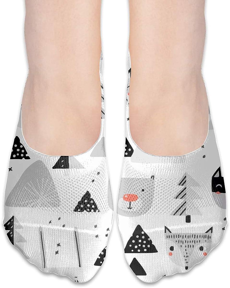 No Show Socks Women Men For Christmas Animal Fox Bear Rabbit Flats Cotton Ultra Low Cut Liner Socks Non Slip