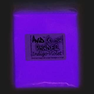 Indigo Violet Glow Powder -Neutral in Daylight 1oz (30g); - Glow in The Dark Pigment Powder for Resin, Slime, Nail Polish, Paints, Coatings, Acrylic Powder; Premium Encapsulated Strontium Aluminate