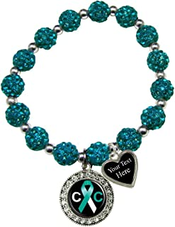 Cervical Cancer Awareness Teal Bling Stretch Bracelet Jewelry Choose Your Text