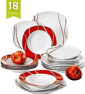 comprar comparacion MALACASA, Series Felisa,18 Piezas Juegos de vajilla de Porcelana 6 Platos de Postre 6 Platos de Sopa y 6 Platos de Cena va...