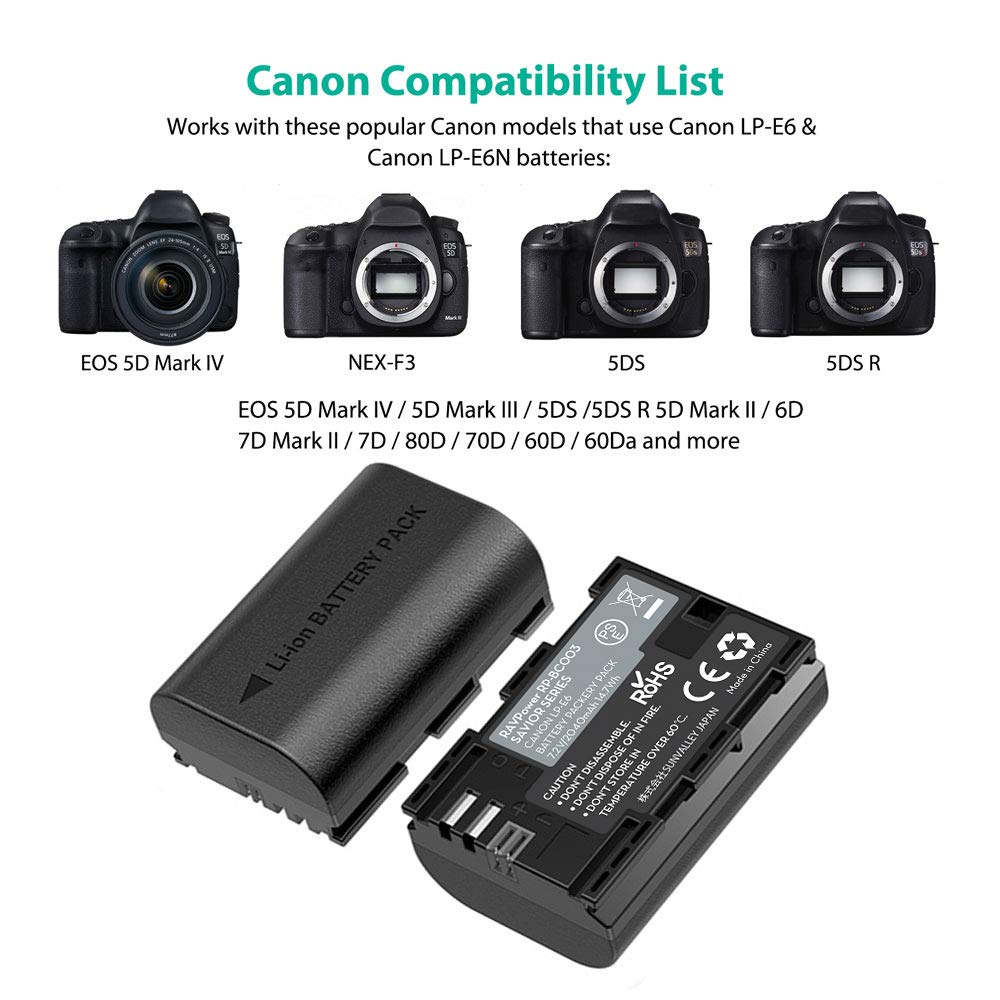 RAVPower Batería LP-E6 & LP-E6N, 2-Pack 2000mAh con Batería Recargable para Canon Compatible com EOS 80D / 70D / 7D / 6D / EOS R, EOS 5D Mark IV/Mark III / 5D