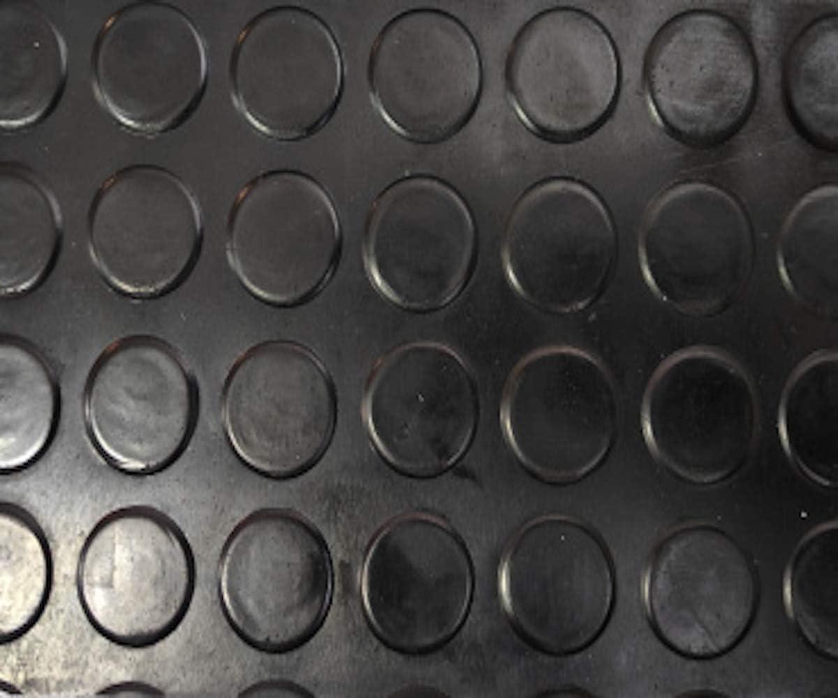 Revestimiento de Caucho Antideslizante   Suelo de Goma PVC Negro 3mm Diseño Botones (140_x_150 CM)