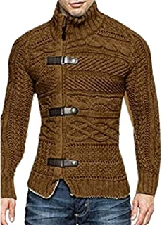 Men's Winter Sweaters Turtleneck Cable Knit Button Down Cardigans Chunky Jackets Coat
