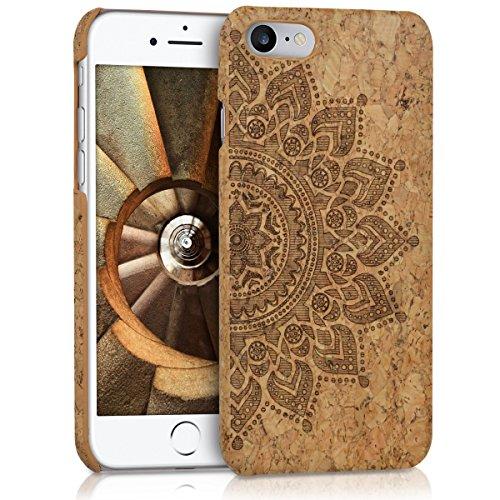kwmobile Coque Compatible avec Apple iPhone 7/8 / SE (2020) - Housse de Protection Rigide en Liège - Rosace Brun foncé-Marron Clair