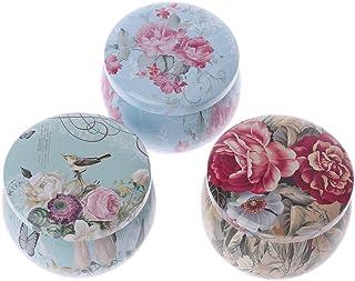 Rongzou Boîte de Rangement Ronde rétro en étain pour Le thé, Les Bonbons, Les Bijoux, Le Maquillage