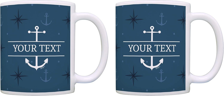 Nautical Mug Set Custom Text 2 Pack Personalized Gift 15 Oz Coffee Mugs Tea Cups Blue Nautical Kitchen Dining Amazon Com