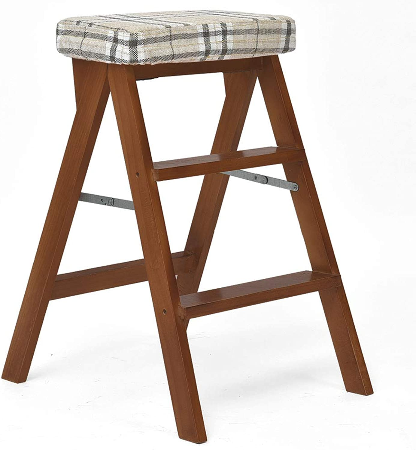 HAIPENG Wooden Step Ladder Stool with Sponge Cushion Safety Foldable Chair Simple Portable Multi Function Adult Home Kitchen, 3-Step (color   Brown4 , Size   42x54x65cm)