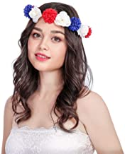 Rixin Blue White Red American Flag Headband with Huge Rabbit Ears a Must-Have Hearwear for Forth of July Holiday