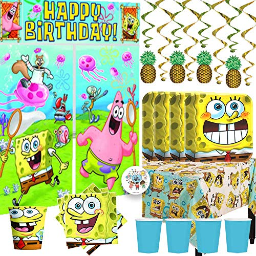 MEGA Spongebob Squarepants Birthday Party Supplies and Decorations Pack For 16 With Plates, Napkins, Cups, Tablecover, Scene Setter, Pineapple Swirls, and Pin