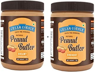 CREAM CORNER Peanut Butter Combo Creamy + Crunchy Spread All Natural High Protein Nut Butter Healthy Snack_(1Kg+1Kg)