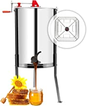 VINGLI Upgraded 4 Four Frames Manual Crank Honey Extractor Stainless Steel Beekeeping Pro Extraction Equipment Honeycomb Spinner Drum Honey Separator Commercial Honey Centrifuge with Adjustable Stands