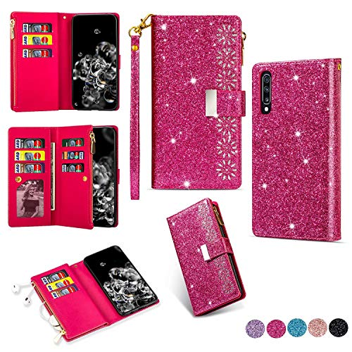 Miagon Reißverschluss Brieftasche Glitzer Hülle für Samsung Galaxy A30S,Flip Handytasche mit 9 Kartenfächer Handschlaufe PU Leder Magnet Bling Multifunktions,Rose Rot
