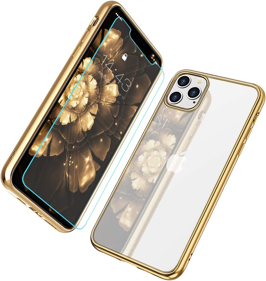 MILPROX iPhone 11 Pro Case, Crystal Clear Thin Slim Shell Anti-Yellow Anti-Slippery Shockproof Protective Electroplated Cover Case for iPhone XI Pro 5.8 Inch 2019 - Gold