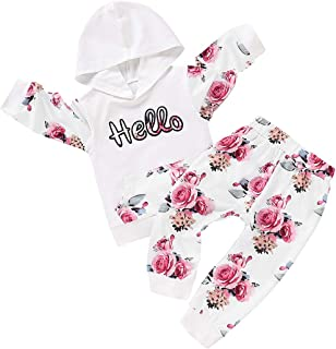 Toddler Girl Pants Set Clothes Outfits Long Sleeve Hoodie Tops with Pocket Floral Pants Headbands