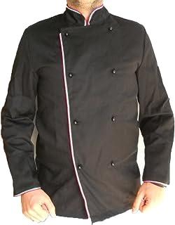 Fratelliditalia Giacca Casacca da Cuoco Chef Cotone Nera con bordature Grigio o Nere Ristorante