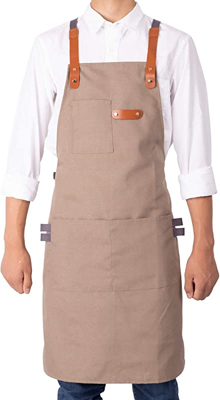 NEOVIVA Stylish Cooking Apron For Chef Women Men With Tool Pockets Heavy Duty Grilling BBQ Aprons Professional For Kitchen And Workshop With Adjustable Cross Back Straps Style Drew Indian Latte Tan