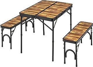 BUNDOK(バンドック) テーブル & ベンチ セット 木目 BD-230WB アルミ 天板合成樹脂化粧合板