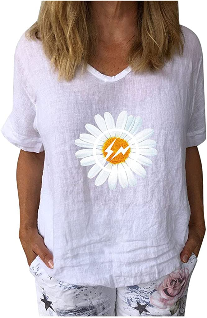 Plus Size Summer Tops for Women Short Sleeve V-Neck Sunflower Printed T-Shirt Casual Loose Pullover Tunic Tops