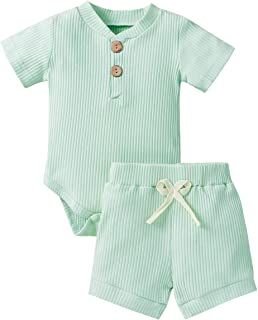 Sponsored Ad - Newborn Baby Boy Girl Clothes Set, Unisex Infant Toddler Outfit, Short Sleeve Romper and Shorts 2 Pieces Se...