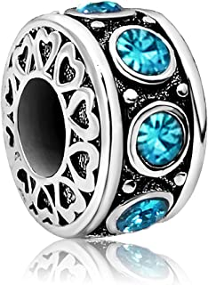 JMQJewelry Heart Love Birthday Jan-Dec Birthstone Charms Beads for Bracelets