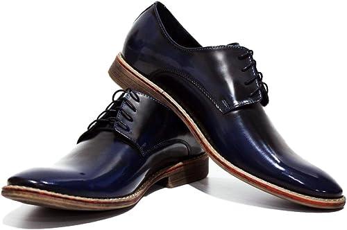 Modello Ponte - Cuero Italiano Hecho A Mano Hombre Piel Farbe Blau Marino schuhe Vestir Oxfords - Cuero Charol - Encaje