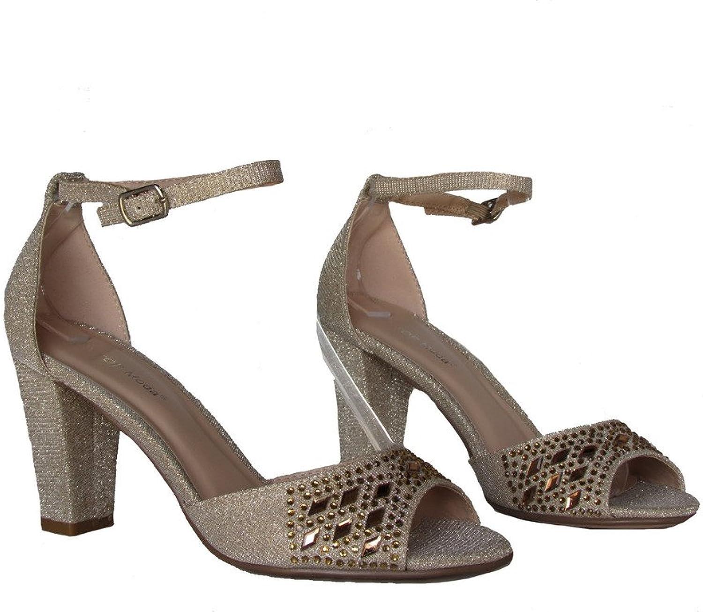 Top Moda Jennifer 20 Womens Sequin Rhinestone High Heel D'Orsay Peep Toe Pumps Champagne