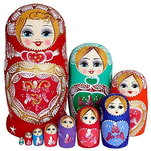 QLKJ Russische Nesting Puppen Matryoshka Schöne Hölzerne Stapelung Handgefertigte Lackierte Buche Matryoshka Puppe Set Spielzeug für Kinder (10 Stück)
