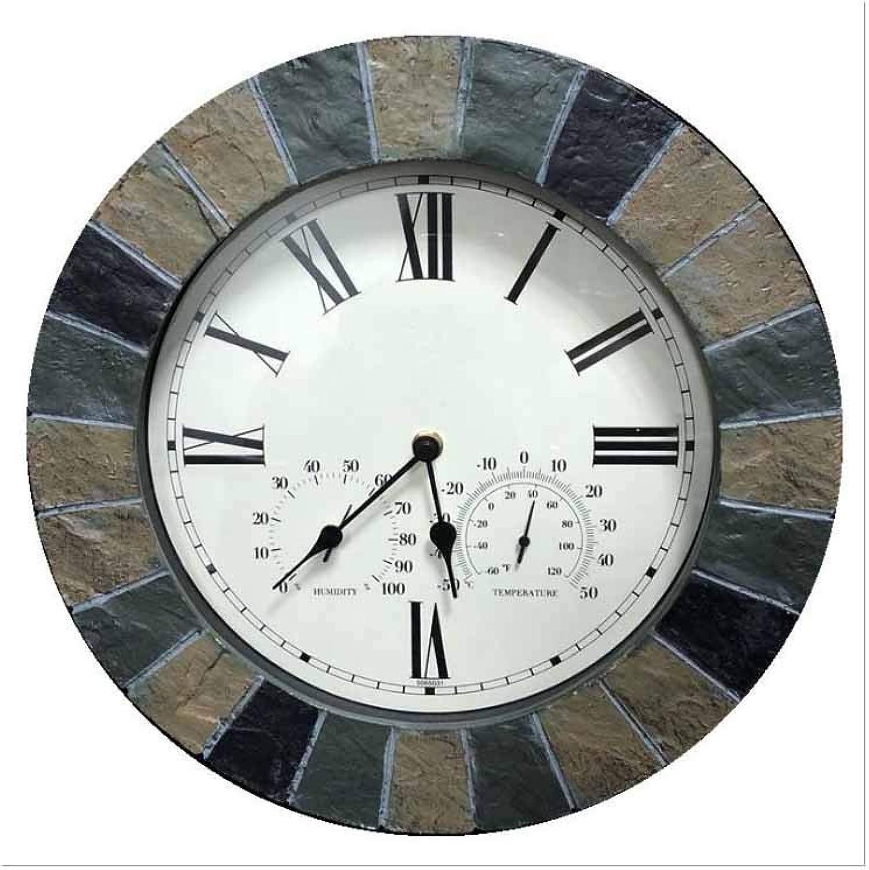 mas barato Reloj de parojo American Creative Impermeable Multifunción Multifunción Multifunción Mute Temperatura Higrómetro Europeo Retro Reloj De Cuarzo  de moda